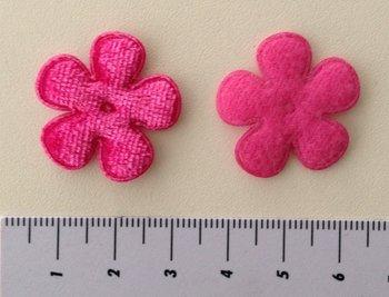 28mm bloemetje fluweel fuchsia