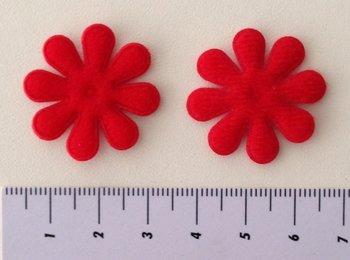 28mm bloemetje, viltachtig, rood