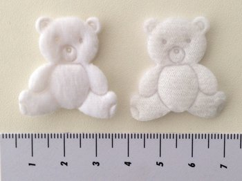 Beertje wit, 3cm bij 4,5cm