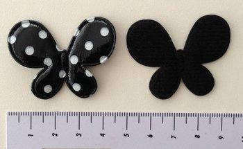 vlinder 4,5 x 3,5cm zwart met wit stipje, vinyl