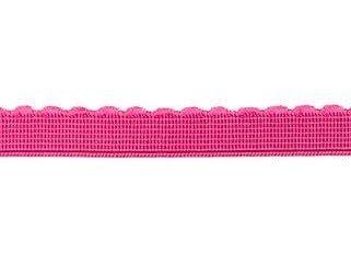 elastiek met schulprandje 12 mm breed, fuchsi