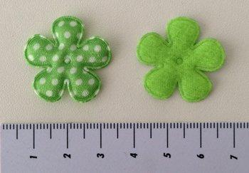 25mm bloemetje groen satijn met witte stip