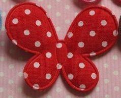 vlinder katoen, rood met wit stipje