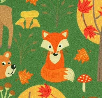 Fiete: softshell: dieren in het bos op groen