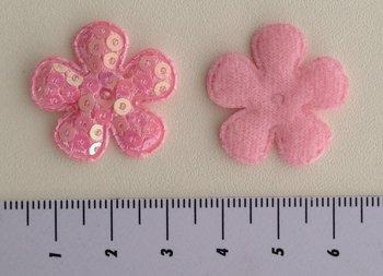 25mm bloemetje roze met pailletjes
