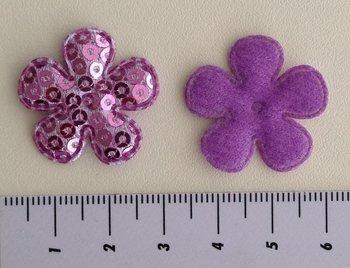 25mm bloemetje lila met pailletjes