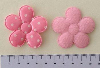 grote bloem 5cm, PVC roze met witte stip