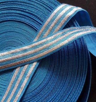 soepel dun elastiek met drie zilveren banen 1,5 cm breed turquoise