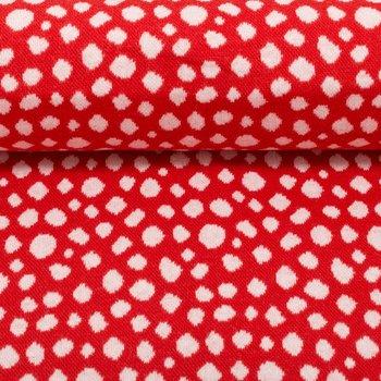 Karla: rode boordstof met ingeweven gebroken witte noppen