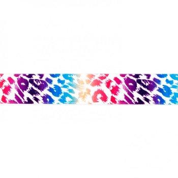 taille-elastiek 2,5 cm breed: panterprint colour /HALVE METER