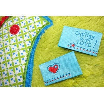 Crafting with LOVE, 4 etiketjes, blauw