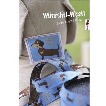Würschtl-Wastl- geweven etiket, blauw