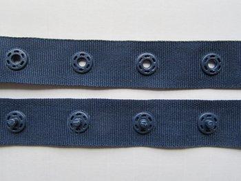 drukkertjesband donkerblauw: afstand 2,5 cm: HALVE meter