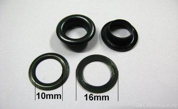 Zeilring/nestel 10 mm zwart gecoat staal