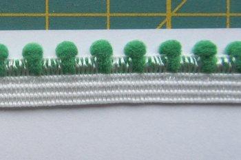 elastisch pomponband, groen