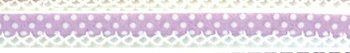 biaisband lila met witte stip en wit randje