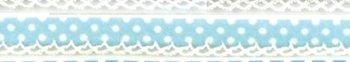 biaisband lichtblauw met witte stip en wit randje