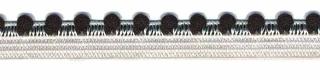elastisch pomponband, zwart