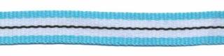 ribsband//turquoise/witte streep met een zwart streepje in het midden