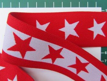 taille-elastiek 4 cm breed: sterren wit met rood/HALVE METER