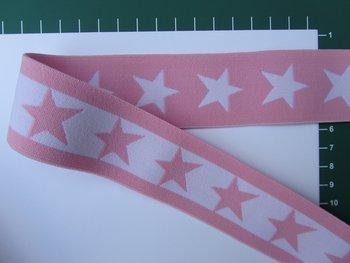 taille-elastiek 4 cm breed: sterren wit met zalmroze/HALVE METER