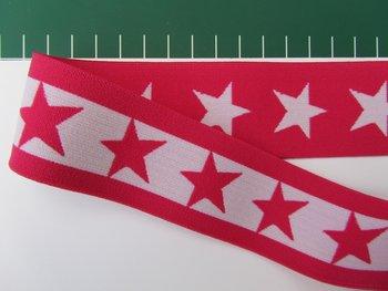 taille-elastiek 4 cm breed: sterren wit met fuchsia/ HALVE METER