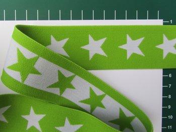 taille-elastiek 4 cm breed: sterren wit met limegroen/HALVE METER