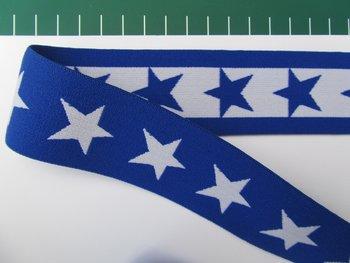 taille-elastiek 4 cm breed: sterren wit met blauw/HALVE METER