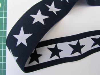 taille-elastiek 4 cm breed: sterren wit met donkerblauw/HALVE METER