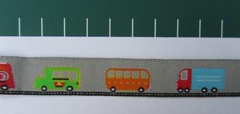 bus, brandweerauto, post, enz op grijs / geweven sierbandje