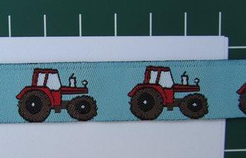 tractor op lichtblauw / geweven sierbandje