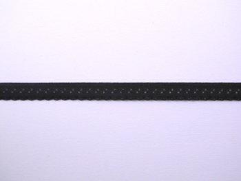 zwart omvouwelastiek met klein schulprandje op de vouw