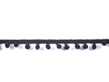 pomponband met kleine bolletjes, zwart