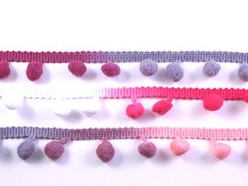 pomponband met overlopende kleuren/ roze-paars