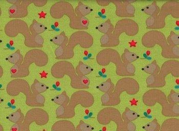 Magic Wood, eekhoorntjes op limegroene tricot