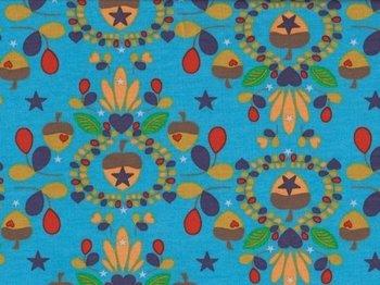 Magic Wood, eikeltjes met bloemenrand op turquoise tricot