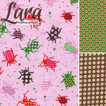 Lara *Digitaal bedrukt*, kevers op roze katoen