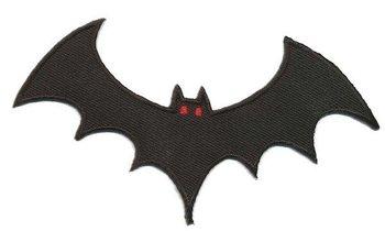 opstrijkbare applicatie: vleermuis zwart met rode oogjes