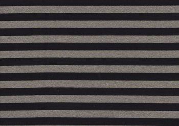 Gilda: brede strepen, tricot zwart-grijs 160 breed