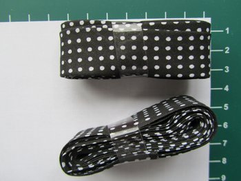 bosje biaisband: zwart met witte stippen