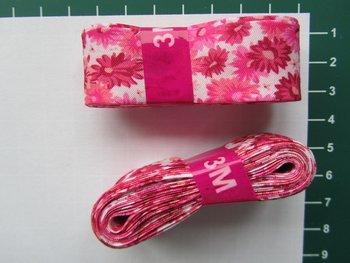 bosje biaisband: margrietjes fuchsia en roze