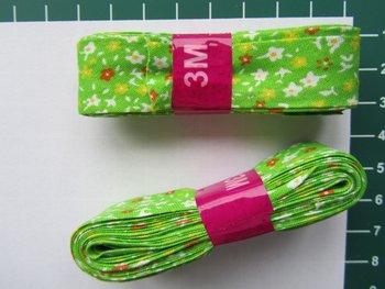 bosje biaisband: kleine bloemetjes op limegroen