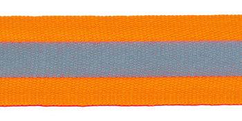 Fluoriserend oranje band met reflectiestreep 25 mm