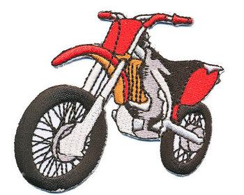 opstrijkbare applicatie: crossmotor rood