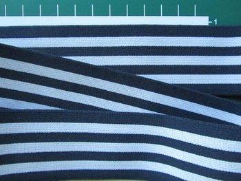 taille-elastiek 4 cm breed: strepen wit met donkerblauw/HALVE METER