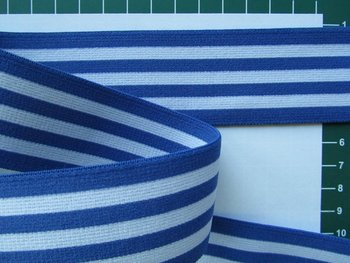 taille-elastiek 4 cm breed: strepen wit met blauw /HALVE METER