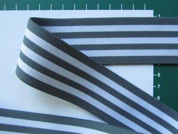 taille-elastiek 4 cm breed: strepen wit met grijs /HALVE METER