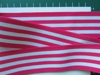 taille-elastiek 4 cm breed: strepen wit met fuchsia /HALVE METER