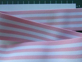 taille-elastiek 4 cm breed: strepen wit met lichtroze /HALVE METER