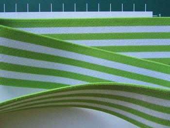 taille-elastiek 4 cm breed: strepen wit met lichtgroen /HALVE METER